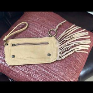 Handbags - Canvas fringed wristlet